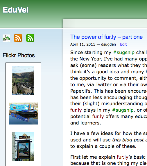 Screen shot of EduVel blog